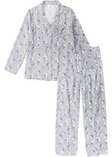Фланелевая пижама (серая сталь с рисунком) Bonprix