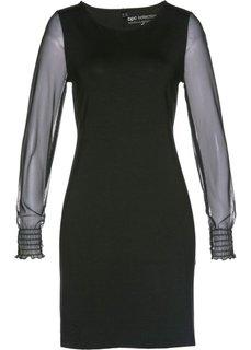 Платье с рукавами из сеточки (черный) Bonprix