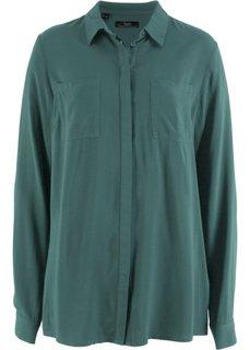 Блузка из вискозы, длинный рукав (зеленый) Bonprix