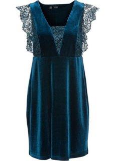 Бархатное платье с кружевом (темно-изумрудный) Bonprix
