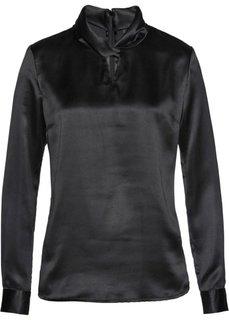 Сатиновая блузка (черный) Bonprix