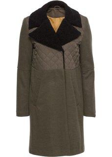 Пальто с имитацией шерсти (зеленая ель/черный) Bonprix