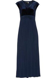 Вечернее платье с бархатной отделкой (темно-синий) Bonprix