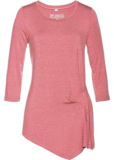 Асимметричная футболка, материал с содержанием шелка (розовое дерево) Bonprix