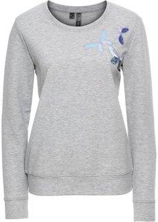 Свитшот с нашивками-бабочками (светло-серый меланж) Bonprix