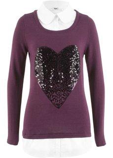 Пуловер в стиле два в одном (бузиничный) Bonprix