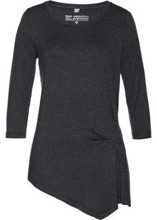 Асимметричная футболка, материал с содержанием шелка (антрацитовый меланж) Bonprix