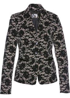 Пиджак с кружевным узором (каменно-бежевый/черный с рисунком) Bonprix