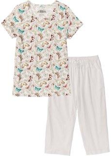 Пижама-капри (цвет белой шерсти с рисунком) Bonprix