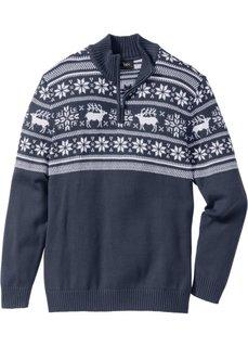 Пуловер Regular Fit с воротником-стойкой (темно-синий) Bonprix