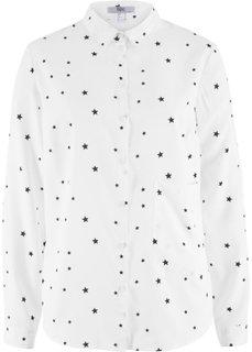Блузка с длинным рукавом и накладным карманом (белый с рисунком) Bonprix