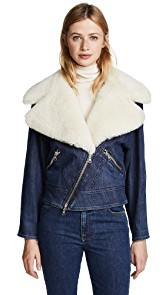 Adam Lippes Moto Jacket with Shearling Collar