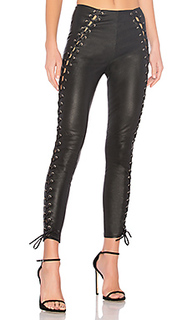 Кожаные брюки со шнуровкой 648 - LPA