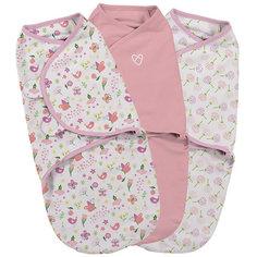 Конверт на липучке Swaddleme, размер S/M, (3 шт), цветы/розовый/бабочки Summer Infant