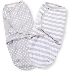 Конверт на липучке Swaddleme, размер S/M, (2 шт), серый/горошки/полоски Summer Infant