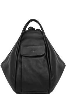 Черная кожаная сумка-рюкзак Bruno Rossi