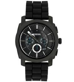 Часы с черным силиконовым ремешком Fossil