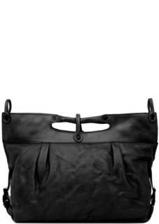 Черная кожаная сумка с одним отделом Aunts & Uncles