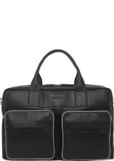 Черная кожаная сумка со съемным плечевым ремнем Gianni Conti