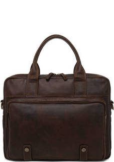 Коричневая сумка на молнии из натуральной кожи Gianni Conti