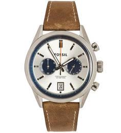 Кварцевые часы с кожаным браслетом Fossil