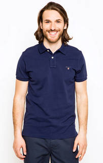 Хлопковая футболка поло синего цвета Gant