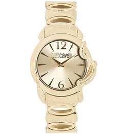 Часы круглой формы золотистого цвета Just Cavalli
