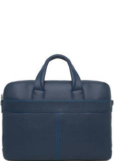 Синяя кожаная сумка на молнии Sergio Belotti
