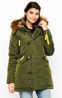 Удлиненная куртка цвета хаки с капюшоном Alpha Industries