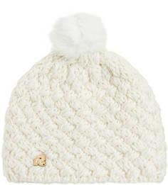 Вязаная шапка с помпоном молочного цвета R.Mountain