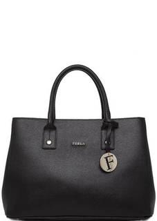 Черная кожаная сумка с двумя ручками и съемным ремнем Furla