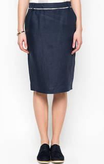 Льняная юбка синего цвета Barbour