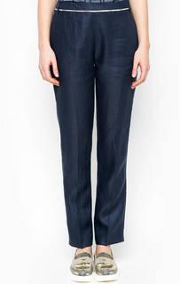 Льняные синие брюки прямого кроя Barbour