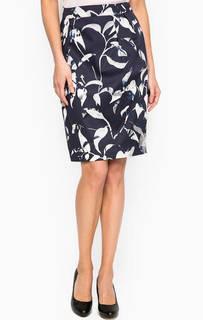 Синяя юбка средней длины с принтом More & More