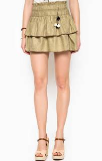 Льняная юбка цвета хаки Maison Scotch
