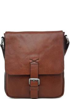 Коричневая сумка из натуральной кожи Strellson
