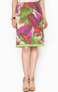 Разноцветная юбка из вискозы с кружевной отделкой Lerros