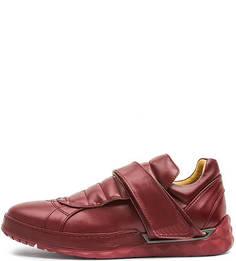 Бордовые кожаные кроссовки с застежкой на липучку Diesel