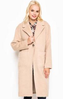 Бежевое длинное пальто свободного кроя Juicy Couture