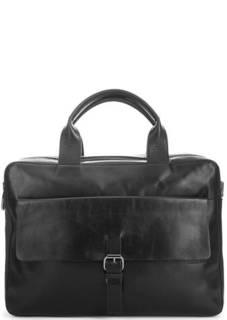 Черная кожаная сумка с двумя отделами и съемным плечевым ремнем Strellson