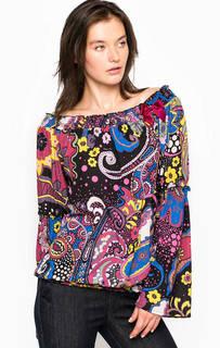 Блуза из полиэстера с широким вырезом на резинке Fornarina