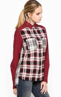 Красная рубашка в клетку свободного кроя из вискозы, полиэстера и хлопка Diesel