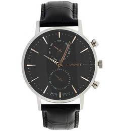 Часы с черным кожаным ремешком Gant