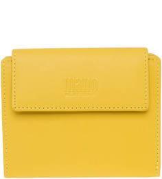 Желтый кожаный кошелек с застежкой на кнопку Mano