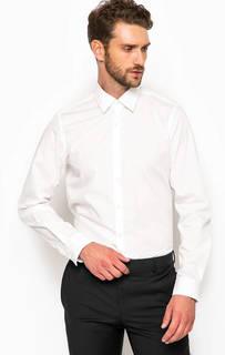 Белая хлопковая приталенная рубашка Strellson