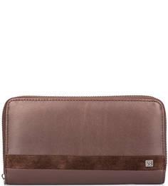 Коричневый кожаный кошелек на молнии Sergio Belotti