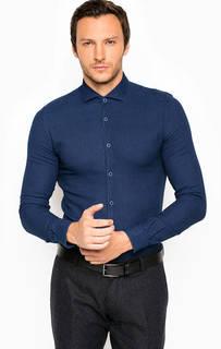 Синяя рубашка из хлопка на пуговицах Liu Jo Uomo