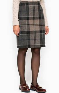 Серая шерстяная юбка с разрезом Barbour