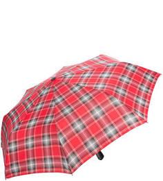 Красный складной зонт в клетку Doppler