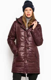 Бордовая куртка из полиэстера со съемным капюшоном Luhta